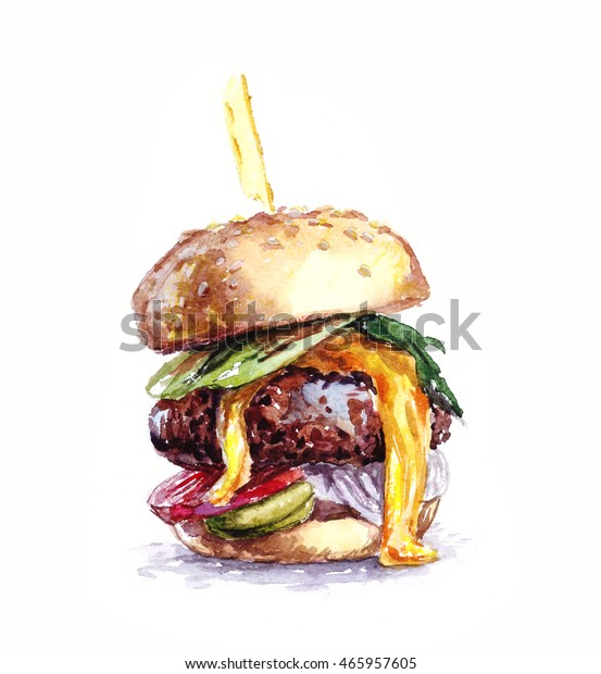 Big and tasty burger watercolor. Painting fast food.