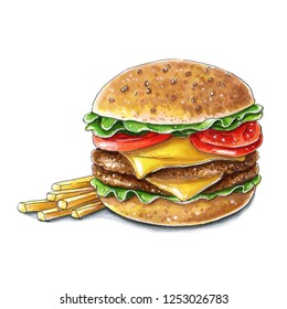 Big tasty fastfood hamburger cheeseburger with cutlet and fries on white background