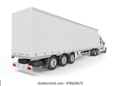 Big Truck Trailer - on white background with soft shadows. Mock up - 3D illustration,