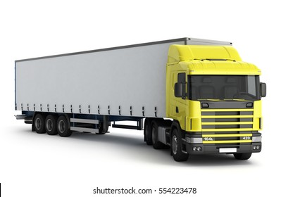 Big Truck Trailer on white background with soft shadows Mock up 3D illustration
