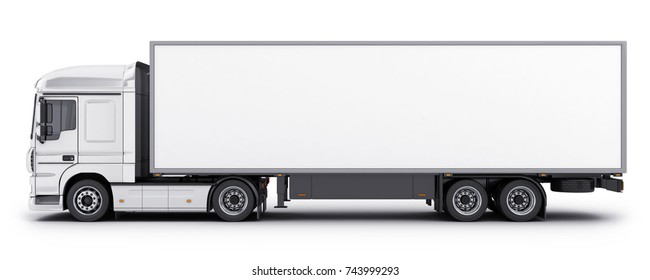 big truck and trailer on white background. 3d illustration
