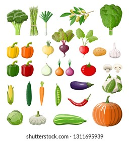 Big vegetable isolated icon set. Onion, eggplant, cabbage, pepper, pumpkin, cucumber, tomato carrot and other vegetables. Organic healthy food. Vegetarian nutrition. illustration in flat style