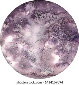 Big watercolor cosmic planet illustration. Symbol of new beginning, dreaming, romance, fantasy, magic. Violet color, circle, full moon view. Hand drawn colour painting, isolated on white background