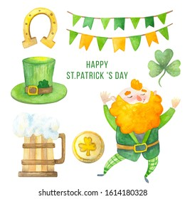 Big watercolor Happy Saint Patrick's Day Illustration Collection. Lucky charms, rainbow, lepricon, beer, golden horseshoe, traditional party symbols, card, banner, invitation, design template.