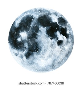 Big watercolor moon illustration. Symbol of new beginning, dreaming, romance, fantasy, magic. Black, grey colors, circle, full view. Hand drawn water colour painting, isolated on white background.