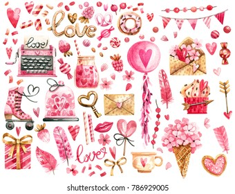 Big watercolor set of elements for Valentine's day. Hearts, sweets, flowers, garlands, balls, gifts and other cute items.
