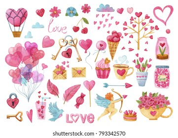 Big watercolor set of elements for Valentine's day. Ball, feather, key, lock, flowers, heart, Cupid, Cup, flowers, wood, arrow, cake, rain, cloud, heart.