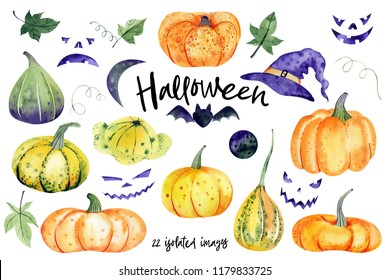 Big watercolor set with halloween motives and pumkins. All elements can be combined with each other in countless variations