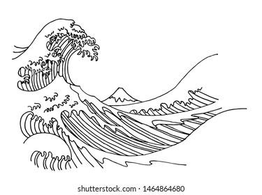 Big wave of Kanagawa vector illustration. Sketch of Hokusai engraving.