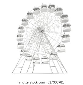 Big wheel isolated on white background. 3d rendering.