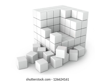 Big White Cube of Small Cubes on the White Background