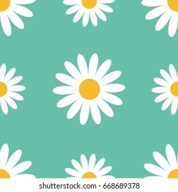 seamless pattern white daisy chamomile flower stock vector royalty