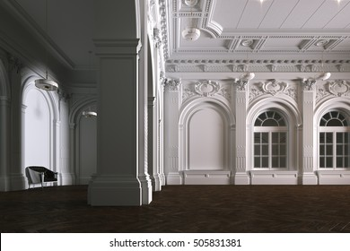 Big white interior of church with wood parquet floor 3D render