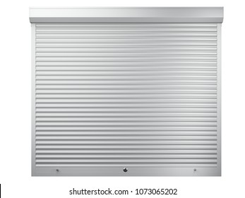 Big white metal closed roller shutter. Front view - garage door. 3d illustration isolated over background.