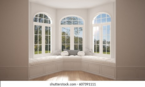 Big window with garden meadow panorama, minimalist empty space, background classic interior design, 3d illustration