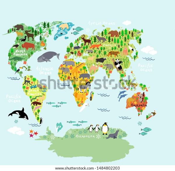 Illustration De Stock De Grandes Cartes Du Monde Oceans Et 1484802203