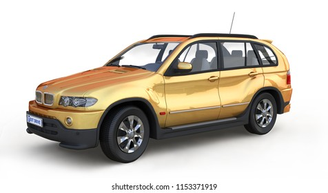 Big yellow car isolated on white background. 3D illustration.