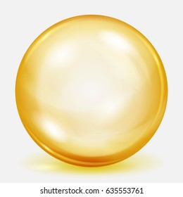 Big yellow sphere with shadow on white background