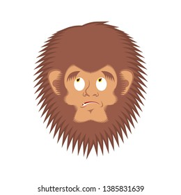 Bigfoot  guilty emoji. Yeti  delinquent face. Abominable snowman culpable avatar
