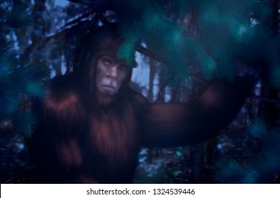 Bigfoot hiding behind a pine branch in the forest on a moonlit night.