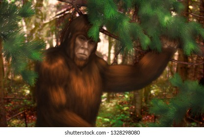 Bigfoot hiding behind a tree branch in the forest.