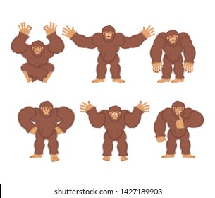 Bigfoot set poses and motion. Yeti happy and yoga. Abominable snowman sleeping and angry. Monster guilty and sad