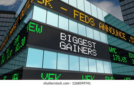 Biggest Gainers Stock Market Ticker Words 3d Illustration