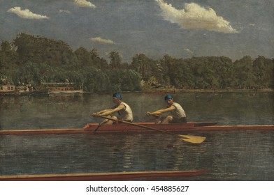 The Biglin Brothers Racing, by Thomas Eakins, 1872, American painting, oil on canvas. Bliglin brothers in a two-man scull. James and Bernard Biglin were professional rowers in what was a very popular