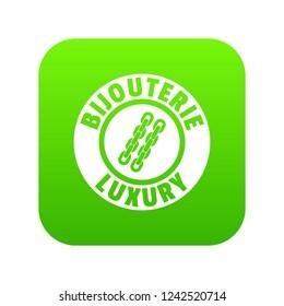 Bijouterie luxury icon green isolated on white background