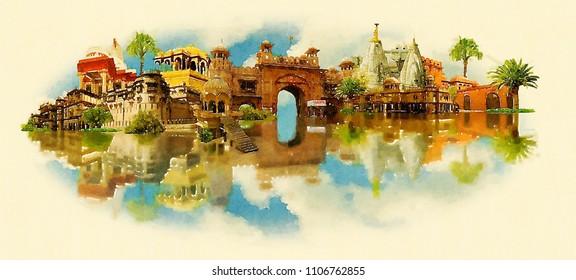 BIKANER city water color panoramic illustration