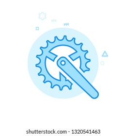 Bike Chainring Flat Icon. Bicycle Spare Part Symbol, Pictogram, Sign. Light Flat Style. Blue Monochrome Design. Editable Stroke. Adjust Line Weight. Design with Pixel Perfection.