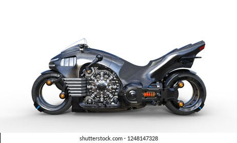 Bike with chrome engine, black futuristic motorcycle isolated on white background, side view, 3D rendering