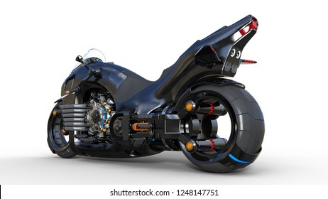 Bike with chrome engine, black futuristic motorcycle isolated on white background, rear view, 3D rendering