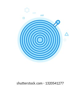 Bike Inner Tube or Tire Flat Icon. Bicycle Spare Part Symbol, Pictogram, Sign. Light Flat Style. Blue Monochrome Design. Editable Stroke. Adjust Line Weight. Design with Pixel Perfection.