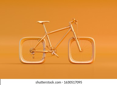 Bike with square wheels isolated on orange background. Problem solving, creativity, complicated solution, business efficiency, complexity, difficulty, troubles 3D concept illustration poster design.