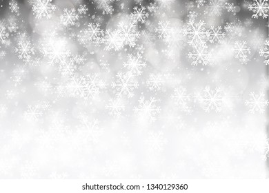 Bikeh blur background. White blur abstract background. Bokeh christmas blurred beautiful shiny christmas lights. Snow background.