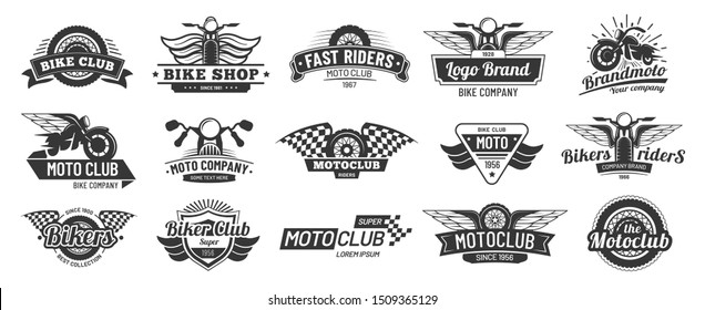 Biker club emblems. Retro motorcycle rider badges, moto sports emblem and motorbike silhouette badge. Hipster garage emblem, motorcycling wheels patch or bike repair logo.  isolated signs set
