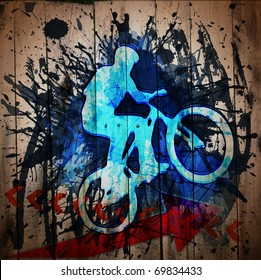 Biker.  Digital graffiti on a wooden fence
