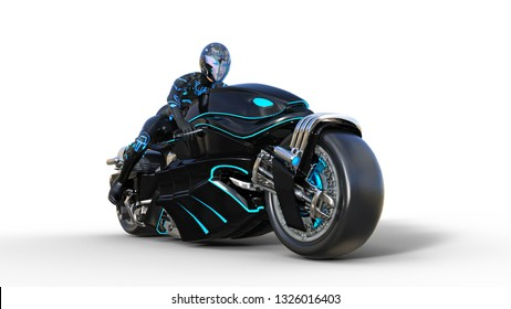 Biker girl with helmet riding a sci-fi bike, black futuristic motorcycle isolated on white background, 3D rendering