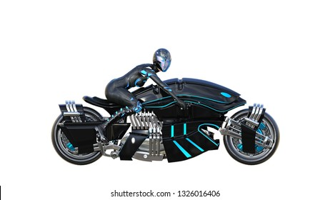 Biker girl with helmet riding a sci-fi bike, black futuristic motorcycle isolated on white background, side view, 3D rendering