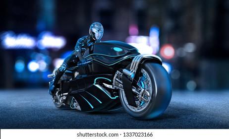 Biker girl with helmet riding a sci-fi bike, woman on black futuristic motorcycle in night city street, 3D rendering