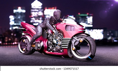 Biker girl with helmet riding a sci-fi bike, woman on red futuristic motorcycle in night city street, 3D rendering