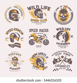 Biker logo rider on motorcycle or bike and speed motorcyclist racer on logotype motor emblem illustration racing set isolated on white background