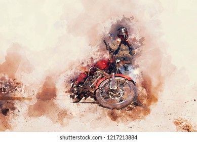 Biker standing beside motorcycle, digital watercolor illustration in hot tone