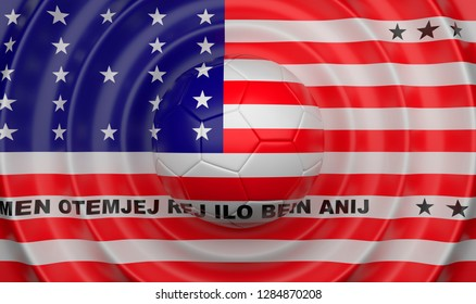 Bikini Atoll, soccer ball on a wavy background, complementing the composition in the form of a flag, 3d illustration