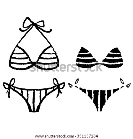 194cd2b949 Bikini, swimsuits, black hand drawn sketch icons set isolated on white  background - Illustration