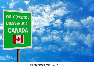 Bilingual 'Welcome to Canada' sign, photo realistic with space for your text / editorial overlay