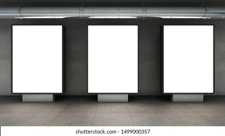 Billboard advertising in a concrete walkway-3D render