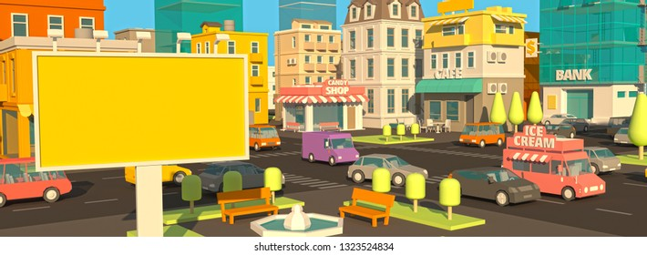 Billboard banner on the cartoon street panorama. Outdoor advertising daylight. Your ad in the city 3d. Very high detail. Cars end buildings. Place for text. Template color illustration