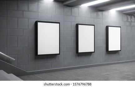 Billboard empty space in subway. Signboard template - 3d render illustration. Advertisement promotion sideboard mockup. White blank copy space billboard poster. Brand street shop mockup